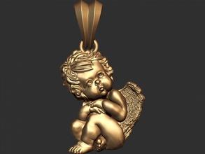 0132 bebé ángel colgante 001 3d listo para imprimir ángel de navidad la joyería el colgante escultura tienda de regalos imprimible de la pluma ala de oro joya la joyería el collar colgantes rhino la plata zbrush rezar kupidon cupidone