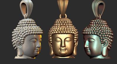 0135 buddha face pendant ready 3d print old jewel jewellery jewels buddha face ancient printable silver jewelry figure gautam budha buddhism religious statue sculpture jewish jesus pendants