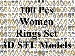 100 pcs 3d stl model women mix rings 3d printer women womens rings ring rings-set diamonds jewel jewellery multistation space animeart lady ladies-ring sets lots 3dm 3dmmodel stl-file stl