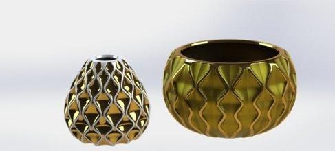 2 3d printable planters planter decor special art geometric vase pot abstract 3dprint ready printable stl house flowerpot ceramic mold manufacture exterior fantasy