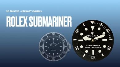 3d printed wall clock rolex submariner rolex watch wall-clock office home-decor submariner diy hobby
