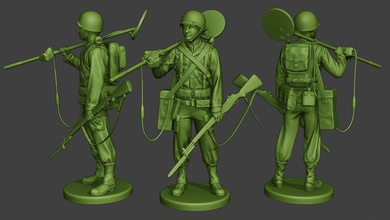 american engineer soldier ww2 stand2 a9 miniature sculpture figure soldier action man ww2 war military army m1 worldwarii american allies garand scr-625 detector engineer