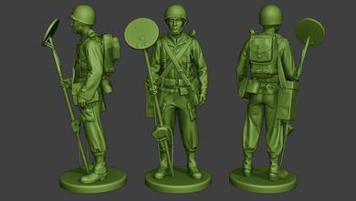 american engineer soldier ww2 stand a9 miniature sculpture figure soldier action man ww2 war military army m1 worldwarii american allies garand scr-625 detector engineer