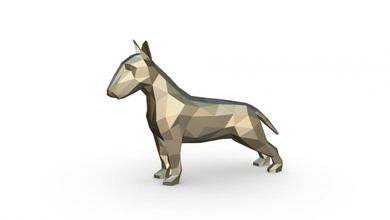 Stier Terrier Zahl Kunst Geschenk drucken Lowpoly 3dprint Tier Dekor Figur Innere Design Miniaturen Skulptur Statue Spielzeug Karikatur Papercraft Origami Stier Terrier Bullterrier