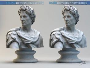 caius julius caesar caius julius caesar emperor rome roman colosseum ancient statue bust sculpture figure cesare marble lowpoly portrait art