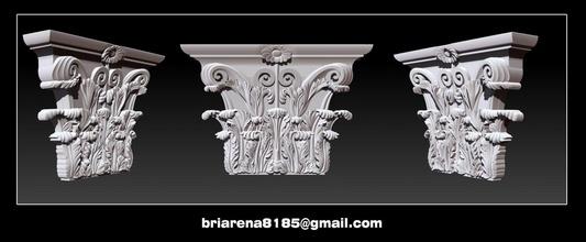 columna capital 3d stl modelos cnc enrutador columna antiguo arquitectura escultura Roma Grecia edificio componente clásico clásico Arte esculturas pilar capital barroco bajorrelieve tallado cnc
