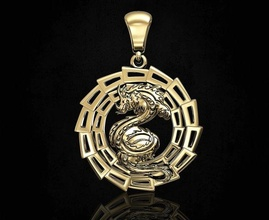 dragon pendant v-2 3d printable pendant pendants gold silver platinum sterling women men relief husky dragon beast fantasy animal mythical jewellery