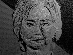 embossed image hillary clinton democrat embossed engraved engraving head human model person face politics gift present emboss