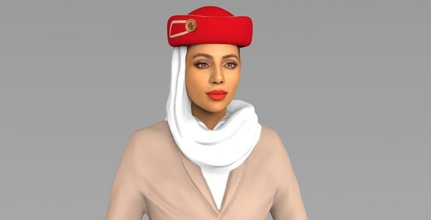 emirates airline stewardess ready full color 3d printing emirates airline stewardess qatar airways flight attendant airport plane boeing 777 dubai 3d-printing beautiful woman hot