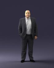 gordura homem cinzento terno 0517 3d impressão pronto 3d Varredura modelo polígono 3dprint humano masculino realista posado personagem miniaturas homem mulher criança estilo sucesso moda