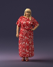 fat woman 0075 3d print ready 3d scan model polygon 3dprint human male realistic posed character people miniatures man woman child style success outfit fashion