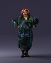 fat woman colorful clothes 0076 3d print ready 3d scan model polygon 3dprint human male realistic posed character people miniatures man woman child style success outfit fashion