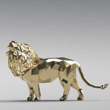 figurilla geométrico rugido león estructura metálica 3d Arte escultura diseño juguete modelo impresión gato impresión animal estatua esculturas miniaturas figuritas rabia Rey gruñido furia león