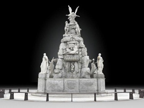 fountain continents fountain architecture trieste italy marble sculpture statue art water monument realtime lowpoly city ue4 unity normals architectural continents stone