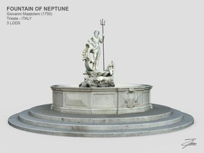 fountain neptune fountain architecture trieste italy neptune nettuno marble sculpture statue art water monument element realtime lowpoly lod city ue4 unity