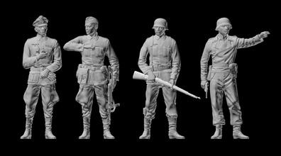 german soldiers german officer german officer soldier second war military uniform pistol glove binoculars commander miniatures figurines gun rifle schmeiser machine miniature modeling