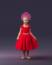 girl red dress 0070 3d print ready 3d scan model polygon 3dprint human male realistic posed character people miniature child style fashion photochildren children
