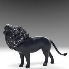 hueco rugido león figurilla estructura metálica 3d Arte escultura diseño juguete modelo impresión gato impresión animal estatua esculturas miniaturas figuritas rabia Rey gruñido furia león
