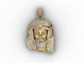 jesus head pendant gems 14k 18k 585 accessories christ face gold head jesu jesus jewellery jewelry necklace pendant pendants printable religiou-object sculpture silver zbrush