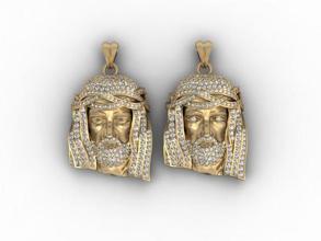 jesus pendant pack 585 accessories christ face gold head jesu jesus jewellery jewelry necklace pack pendant pendants printable religiou-object sculpture set silver zbrush