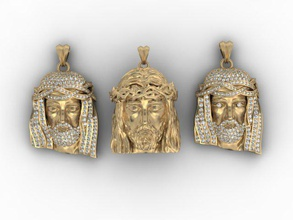 jesus pendant pack 585 accessories christ face gold head jesus jewellery jewelry necklace pack pendant pendants printable religiou-object sculpture set silver zbrush