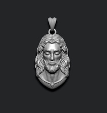 jesus pendant v1 jewelry printable necklace christ religiou object jesu head face jewish cross christianity god cathedral holy bible nazareth character thorns silver
