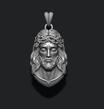 jesus pendant v2 jewelry printable necklace christ religiou object jesu head face jewish cross christianity god cathedral holy bible nazareth character thorns silver