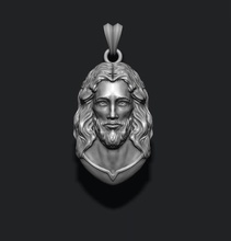 jesus pendant v3 jewelry printable necklace christ religiou object jesu head face jewish cross christianity god cathedral holy bible nazareth character thorns silver