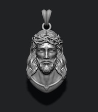 jesus pendant v4 jewelry printable necklace christ religiou object jesu head face jewish cross christianity god cathedral holy bible nazareth character thorns silver