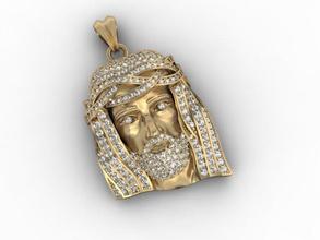 jesus pendant 14k 18k 585 accessories christ face gold head jesu jesus jewellery jewelry necklace pendant pendants printable religiou-object sculpture silver zbrush