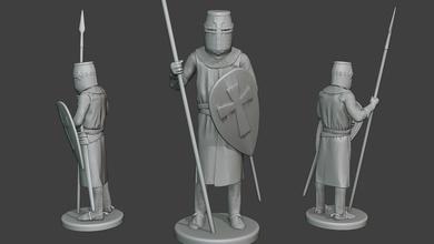 knight templar stand spear t1 miniature figure man military catholic order knight templar christ sculpture army swordmen crusader caballero european cruzado payens hugues french solomon