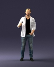 male singer 0079 3d print ready 3d scan model polygon 3dprint human male realistic posed character people miniatures man woman child style success fashion beauty