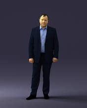 man blue jacket 0074 3d print ready 3d scan model polygon 3dprint human male realistic posed character people miniatures man woman child style success fashion beauty