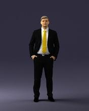 hombre traje amarillo Corbata 0489 3d impresión Listo 3d escanear modelo polígono 3dprint humano masculino realista planteado personaje personas miniaturas hombre mujer niño estilo éxito Moda