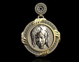 mary pendant-pieta 3d printable pendant pendants gold silver platinum gem diamond mary religion religiou christ stl christmas jesus virgin mother pieta jewellry