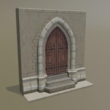 medieval door gothic arch exterior architectural medieval tracery moulding entrance game asset environment architecture ancient art  stone entry poly door house