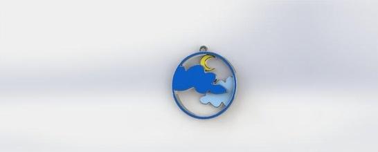 Luna colgante pendiente colgante pendiente joyería joya collar imprimible libra esterlina Luna nube Arte Moda regalo enamorado acero molde resina listo imprimir 3mf amf stl espacio