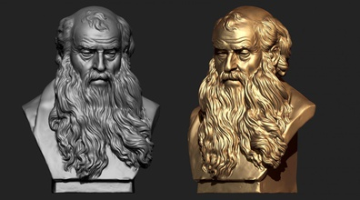 old man sculpture ready 3d print statue religion man old oldman face beard grandfather oldmale head male beardo beardman zbrush cnc 3dprintbale 3dprint anatomy jesus christ
