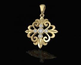 oriental flower pendant 3d printable stl gold silver platinum sterling gems jewel women brilliant stylish diamond flower rose oriental vintag pendant pendants jewellery