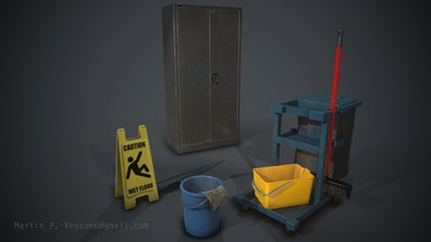 pbr janitor asset pack 1 pbr game art janitor broom bucket plastic office sign