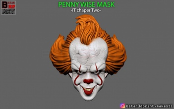 penny wise mask - chapter two 3d print model penny wise mask helmet cosplay chapter two hallowen penny-wise penny-wise-cosplay penny-wise-mask horror penny-wise-toy