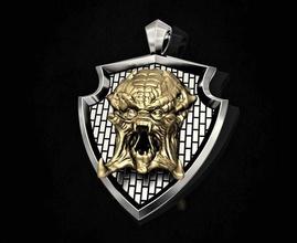 predator pendant 3d printable pendant pendants gold silver platinum sterling men relief band husky hollywood movies predator alien beast creature arnold-schwarzenegger jewellery