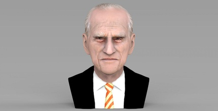 prince philip bust ready full color 3d printing prince philip queen elizabeth buckingham palace london harry charles william celebrity united kingdom meghan markle middleton england brexit