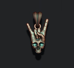 rock skull hand pendant biker bone jewel jewellery jewelry ringskull sculpt sculpture skul skull woman women scul necklace musical music sound rock hend hand