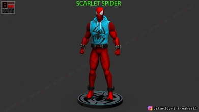 scarlet spider -spider man - marvel comics - high quality 3d print model scarlet spider man marvel comics scarletspider spiderman superhero figures ironman captain red team venom hulk art
