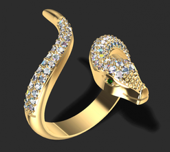 serpent ring 3d print model gold jewellery ring diamond jewel rings brilliant fashion beauty sapphire serpent animals reptile jewelry