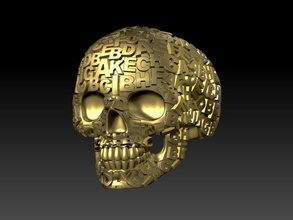 skull ring letter alphabet primer text ring jewelery gold silver jewelry skull man skeleton head human teeth art male death scull rings