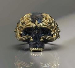 skull ring skull ring jewelry skeleton jaw gold rings female ornament silver man head human teeth art 3d model male death scull