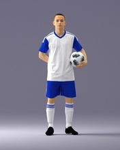 soccer player 1114-7 3d print ready 3d scan model polygon 3dprint human male realistic posed character people miniatures man woman child style sport football footballer