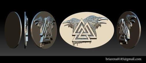 valknut symbol raven pendant valknut symbol raven eagle pendant medal eaglemedal jewellery gold cad diamond printable squirrel necklaces obj stl ztl ring silver sterling